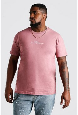 "Camiseta con estampado ""MAN"" Big and Tall, Malva"