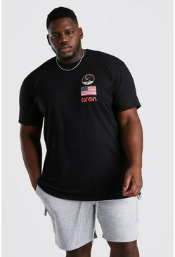 Black Big And Tall NASA Apollo Print License T-Shirt