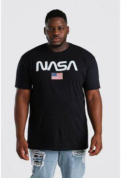 T-shirt Big And Tall ufficiale NASA stelle a strisce, Nero