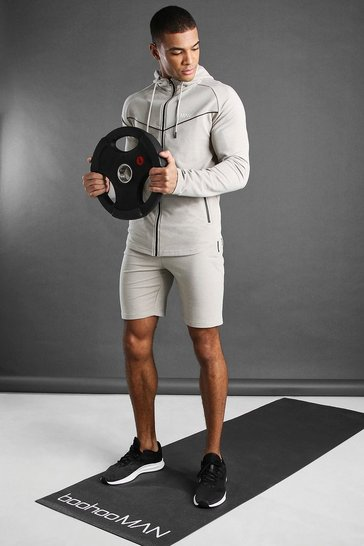 Stone MAN Active Hooded Short Set With Piping