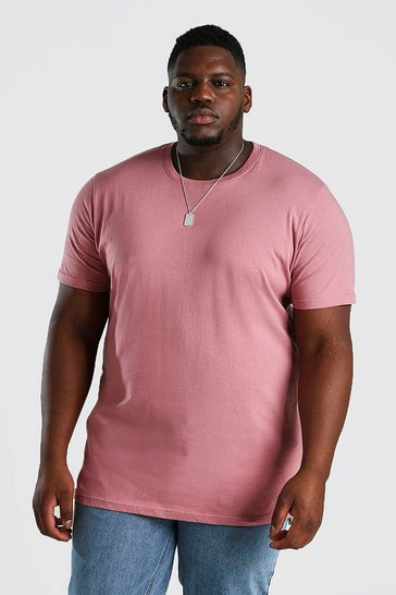 Mauve Big And Tall Longline Basic T-Shirt