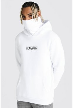 White MAN Official Hoodie med snood och märke med bandanamönster