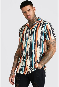 Ecru Short Sleeve Revere Collar Stripe Shirt