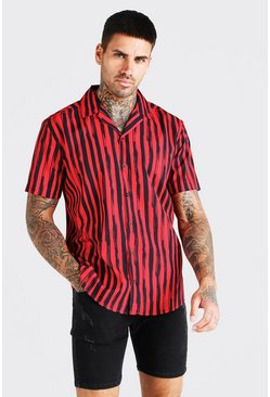 Red Short Sleeve Stripe Shirt