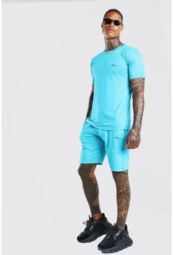 Turquoise MAN Signature T-Shirt & Short Set