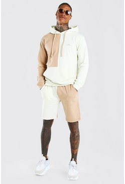Taupe MAN Signature Colour Block Short Tracksuit