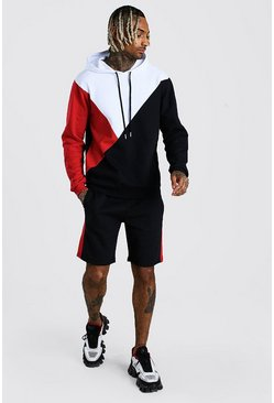 Red Colour Block Hooded Short Tracksuit