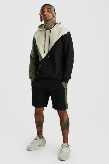Sage Colour Block Hooded Short Tracksuit