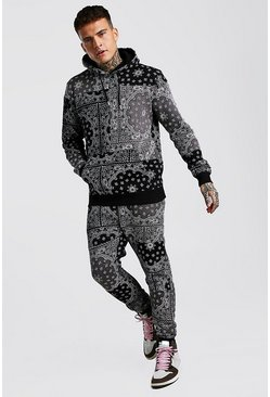 Black Bandana Patch Printed Hooded Tracksuit