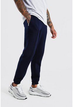 Navy MAN Signature Jersey Pintuck Jogger With Zips