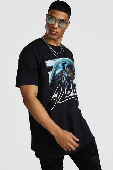 Black Oversized Snoop Car License T-Shirt