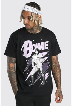 Black Oversized David Bowie Lightning Bolt T- Shirt