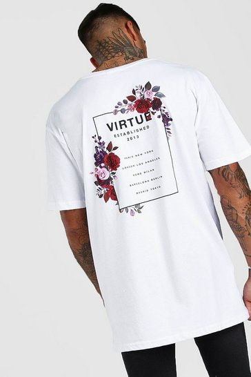 White Oversized Floral Back Print T-Shirt