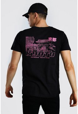 Black Kyoto Graphic Print T-Shirt