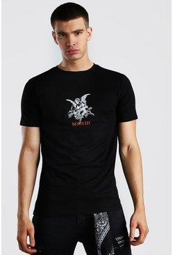 Black Angel Statue Front Print T-Shirt