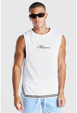 White MAN Signature Air Tex Drop Armhole Tank