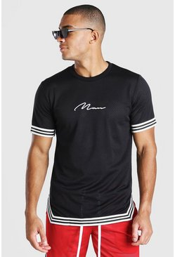 Black MAN Signature Airtex T-Shirt With Tape Detail