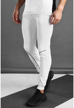 White MAN Active Joggers With Piping