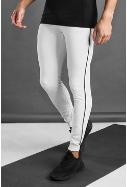 White MAN Active Skinny Fit Joggers With Piping