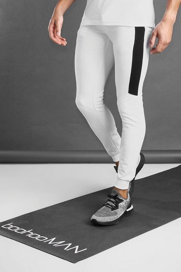 White MAN Active Muscle Fit Jogger With Panel