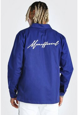 Blue MAN Official Script Back Print Overshirt