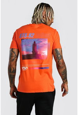 Orange NASA Rocket Front & Back Print T-Shirt