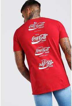 Red Coca Cola Front And Back Print Licensed T-Shirt