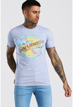 "Grey ""Itchy & Scratchy"" T-shirt med tryck"