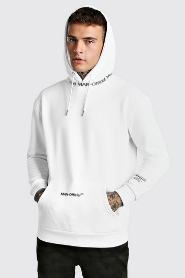 White MAN Offical printed Hoddie With Rib Detail