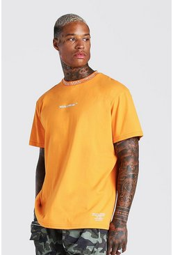 MAN Official Bedrucktes T-Shirt mit geripptem Detail, Orange