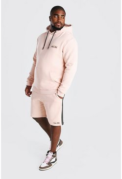 Dusky pink Big And Tall Hooded Short Tape Tracksuit