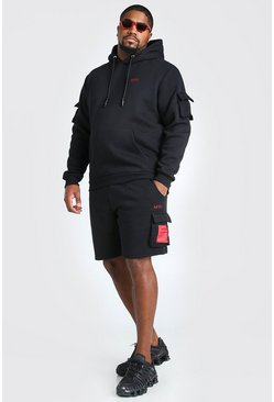 Black Big And Tall MAN Utility Short Hooded Tracksuit