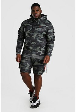 Camo Big And Tall MAN Utility Short Hooded Tracksuit