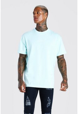 Blue MAN Official Printed T-Shirt With Rib Detail