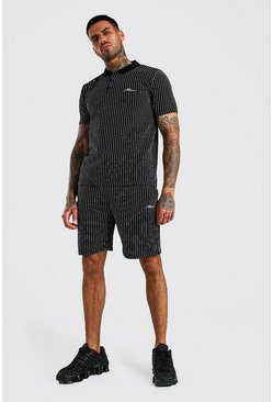 Black MAN Signature Stripe Polo & Short Set