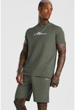 Khaki MAN Signature Stripe T-Shirt & Short Set