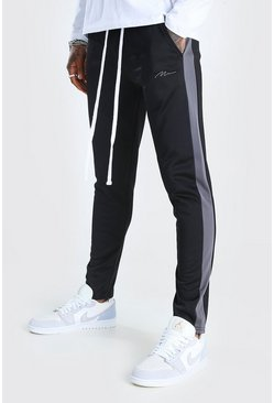 Black MAN Tricot Skinny Tonal Panel Jogger With Zips