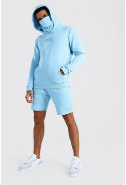 Light blue MAN Snood Hooded Short Tracksuit