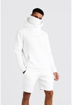 Ecru MAN Snood Hooded Short Tracksuit