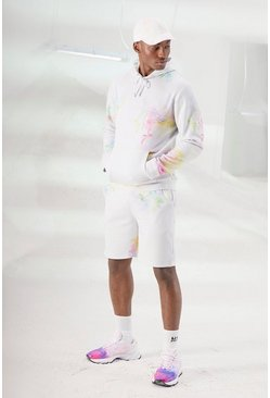 White Water Colour Hoodie & Short Set