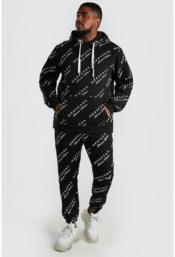 Black Big And Tall Official MAN Print Tracksuit