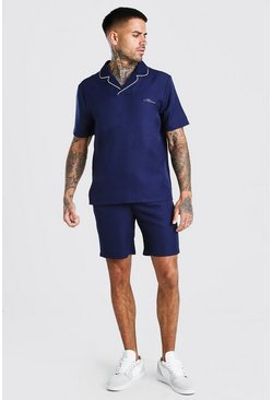 Navy MAN Signature Crepe Polo & Short With Piping