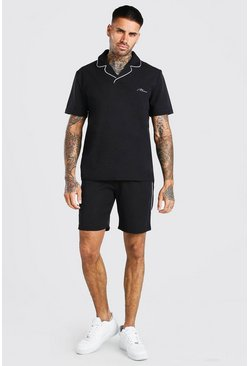 Black MAN Signature Crepe Polo & Short With Piping
