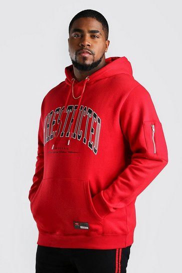 Red Big And Tall Unrestricted Print Hoodie