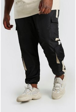 Black Big And Tall Shell Cargo Jogger With Side Panel