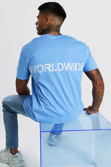 Blue Oversized Worldwide Reflective Print T-Shirt