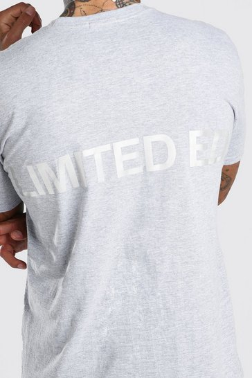 Grey Oversized Limited Reflective Print T-Shirt