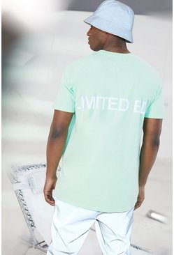 T-shirt oversize con stampa riflettente Limited, Verde menta