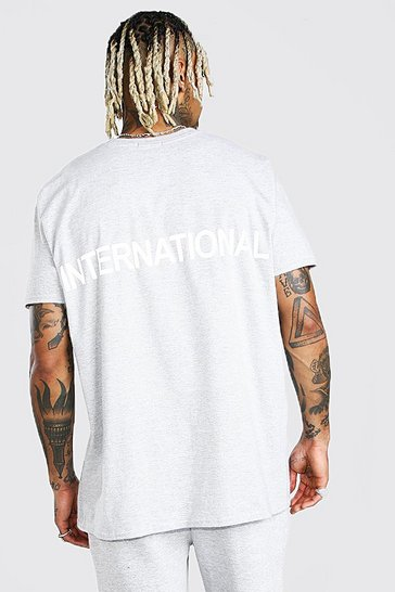 Grey Oversized International Reflective Print T-Shirt