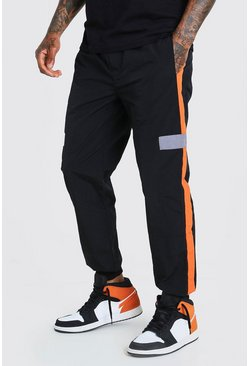 Black Official MAN Shell Colour Block Jogger